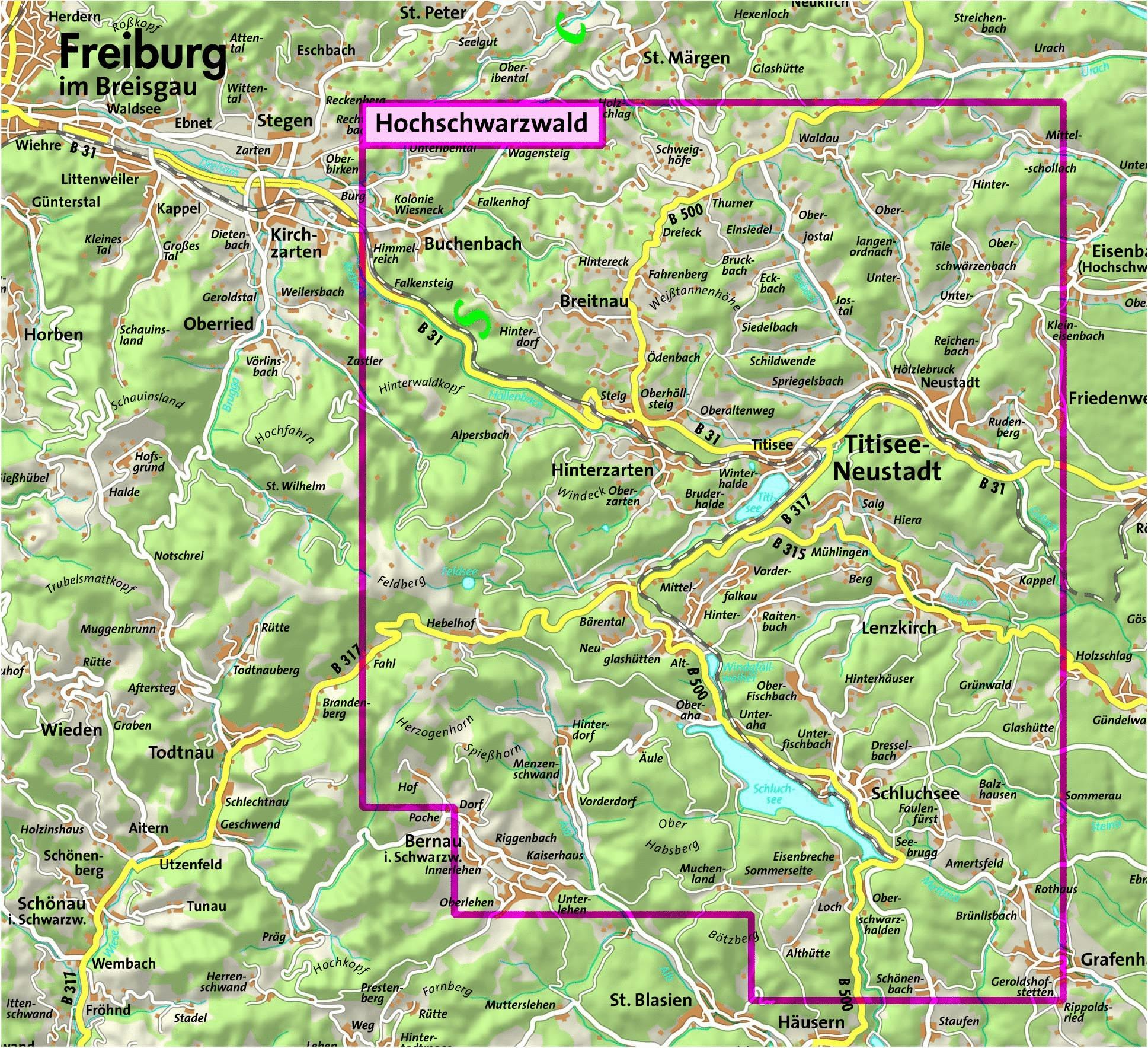 hochschwarzwald karte Landkarte Hochschwarzwald | Kleve Landkarte